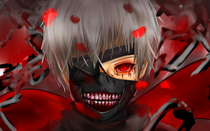 Download wallpapers Tokyo Ghoul, Kaneki Ken, red eyes, manga