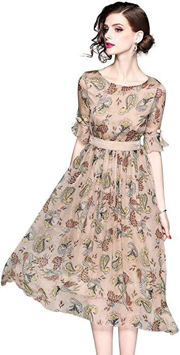 ae752997902 Women s Summer Bell Sleeve Floral Print Casual Boho A-line and Flare Midi  Dress at Amazon Women s Clothing store