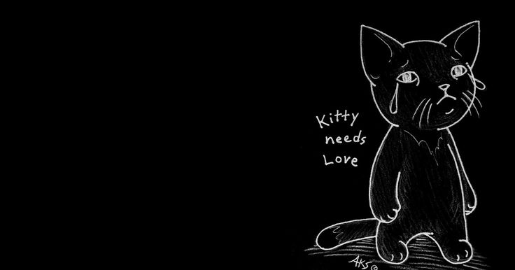 """""""Kitty Needs Love"""" My art made into a simple Google Theme! --- kitty, cartoon, feline, cat, sad cat, tear, cry, crying, emo, gothic, goth, standing up, depressed, depression, alone, lost, hurting, hurt, darkness, dark, black, B&W, artwork, drawing, art, illustration, google theme, meme, google chrome theme."""