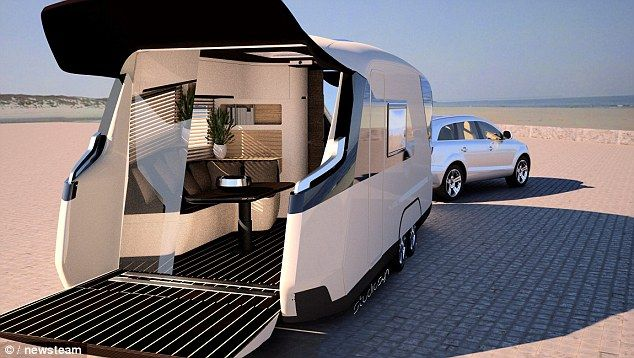 The rear of the Caravisio opens up to create a terrace which can be used for dining