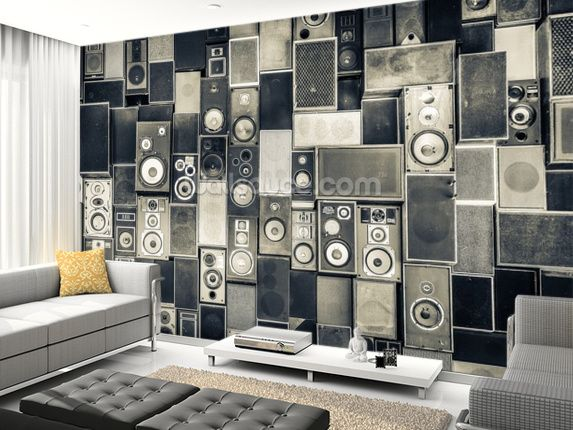 Music Speakers Wall Monochrome Wall Mural Part 80