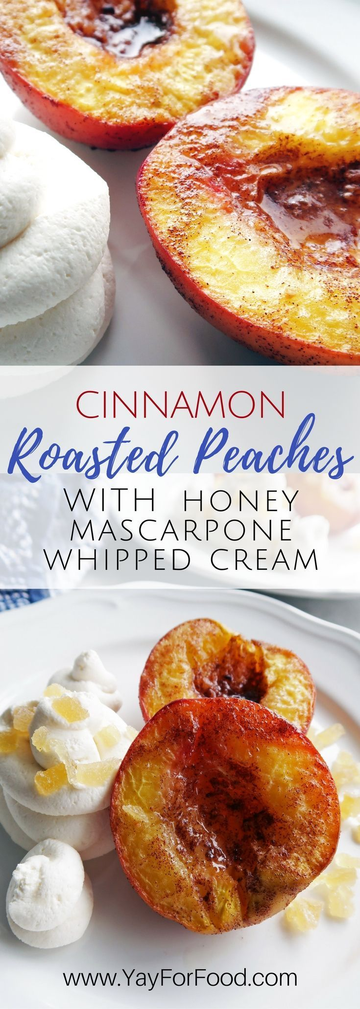 A simple and flavourful dessert for two! Try cinnamon spiced roasted peaches with creamy mascarpone whipped cream! Vegetarian and gluten-free too. | easy desserts | snacks | easy recipe | fruit