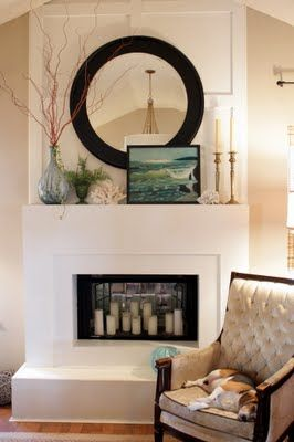 Fireplace - candles in fireplace, round mirror & vase: Decor, Fire Place, Round Mirror, Idea, Sweet, Summer Mantel, Living Room, Design