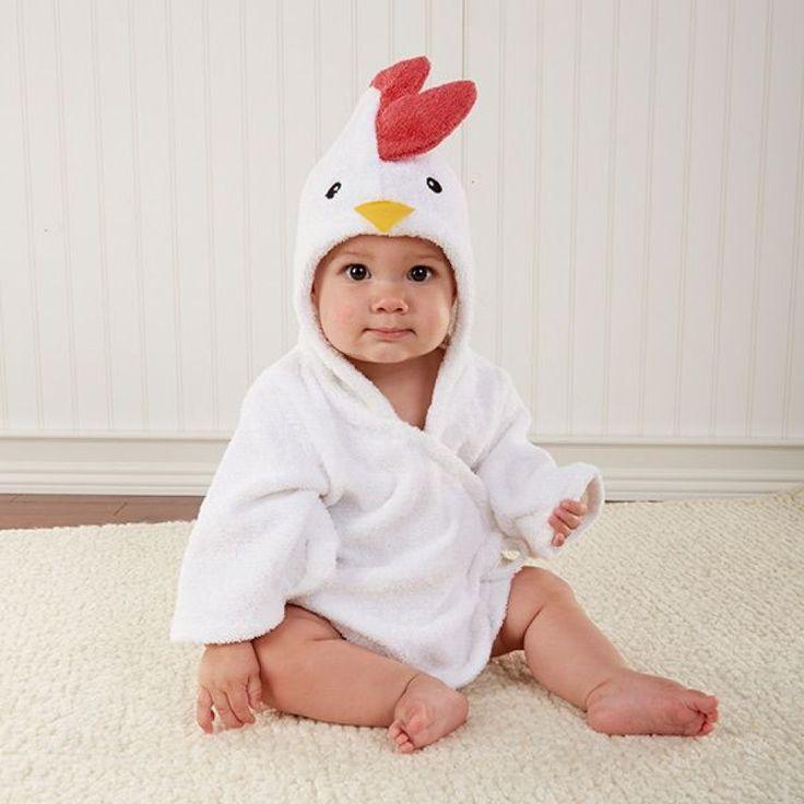 Peignoir bébé 100% coton blanc Coq.