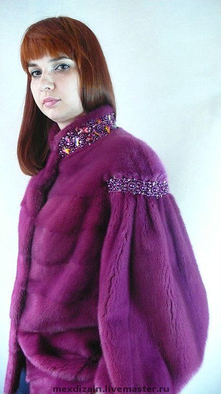 Купить ШУБКА ФУКСИЯ - мех, мех норки, куртка, шубка, мех и вышивка, меховая куртка