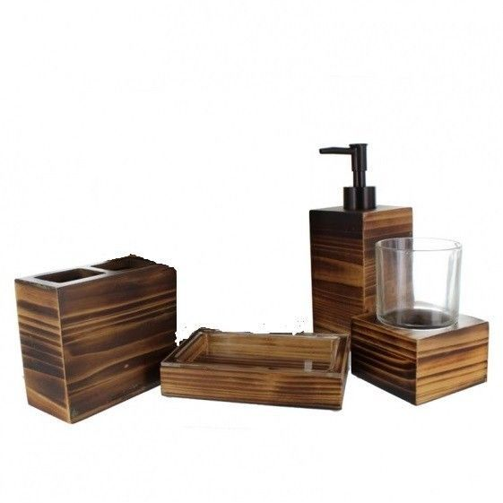Stunning Rustic Wood Bathroom Accessories Pictures - 3D house ...