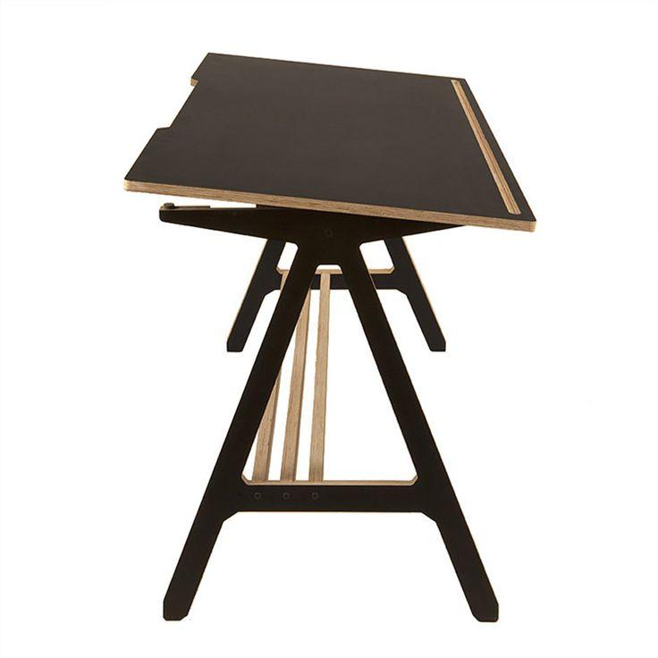 ByAlex Desk in Black, showing the tilting mechanism - http://www.cimmermann.uk/shop-by-brand/byalex.html