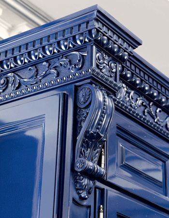 blue painted kitchen cabinets | Royal Blue Kitchen Design, Carved Wood Kitchen Cabinets