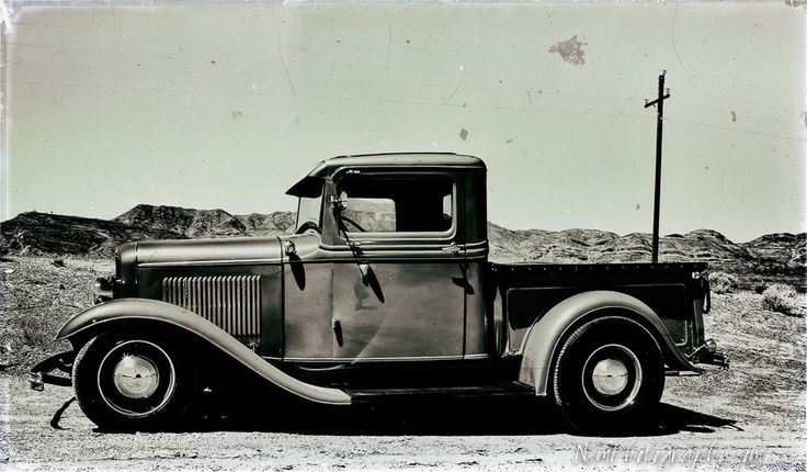 12x18 in. Vintage Black & White Ford Pickup, Bonneville Salt Flats Garage Art