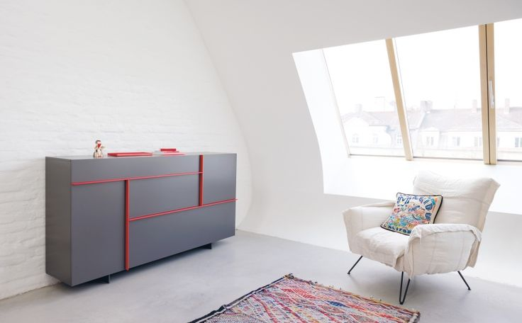 The hallway program FIELDS Schönbuch consists of lowboard, sideboard and highboards in several variants. The furniture front are devided with vertical and horizontal lines, they are used as handles.