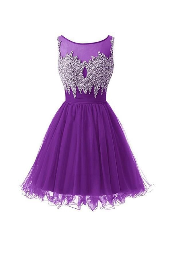 Cheap Popular Short Prom Dresses Scoop Tulle Homecoming Dresses ... 650dcf033
