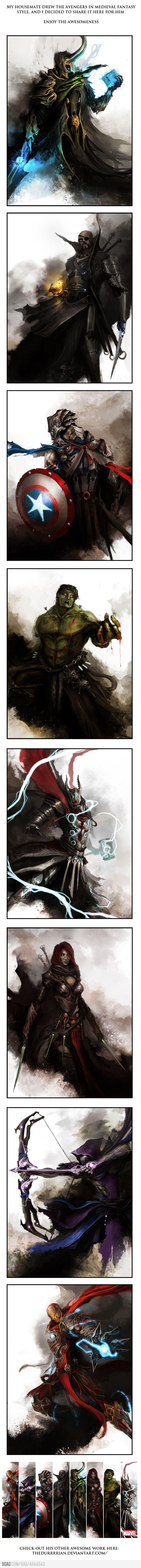 Medieval Style Avengers fan art