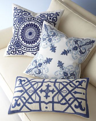 azure medallions pillow white