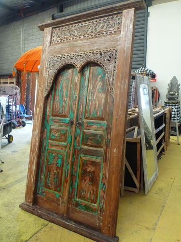 Have one to sell? Sell it yourself Balinese Hand Carved Antique Recycled Timber Aqua White Wash Double Doors