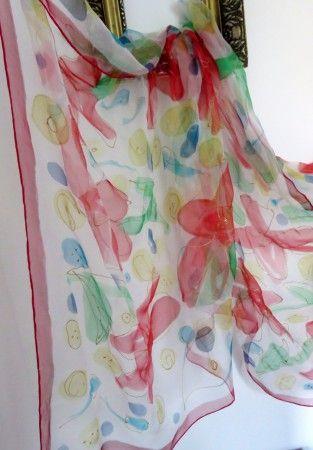 obľúbený hodvábny chifoon LETNÝ DEŇ - ľahučký veľký šál, alebo pareo 180x90cm, cena 49,-€, ihneď na odber