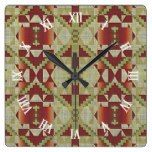 Ochre Brown Red Olive Green Tribal Mosaic Pattern Square Wall Clock  #Brown+ #Clock #Green #Mosaic #Ochre #Olive #Pattern #RusticClock #Square #Tribal #Wall The Rustic Clock