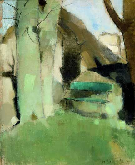 Helene Schjerfbeck. Her palette becomes more and more limited as her style becomes abstract to the point of grotesquery.