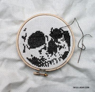 Free PDF download, skull cross stitch pattern
