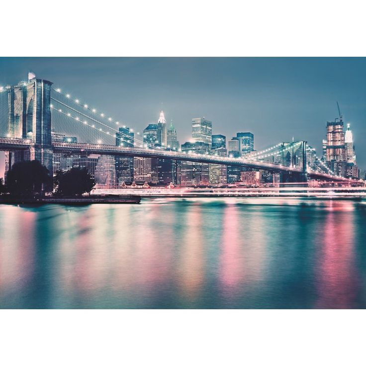 Fototapet Podul Brooklyn, un minunat peisaj urban cu renumitul monument arhitectonic din New York. Comanda online Fototapet Podul Brooklyn pe traget.ro.