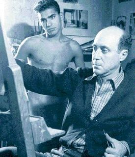 Yannis Tsarouchis in his studio with model