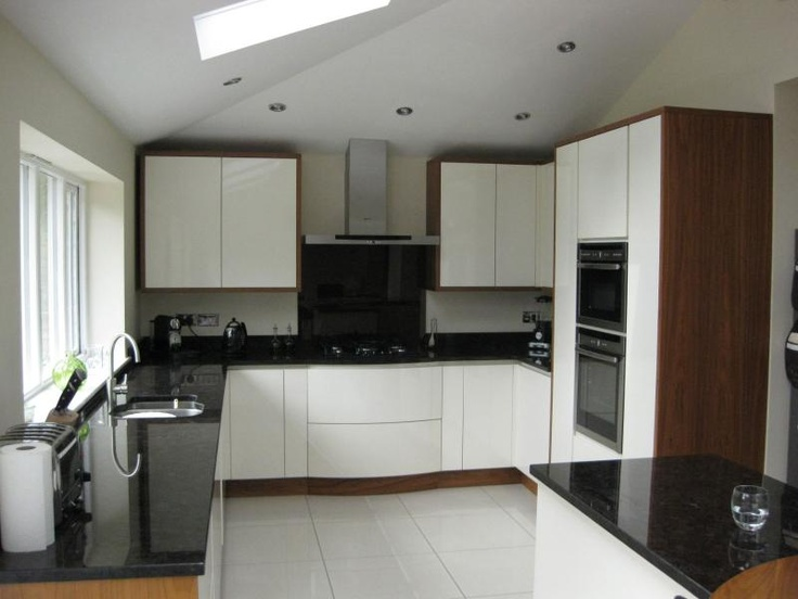 White Kitchen End Panels handleless cream kitchen with walnut end panelskitchen