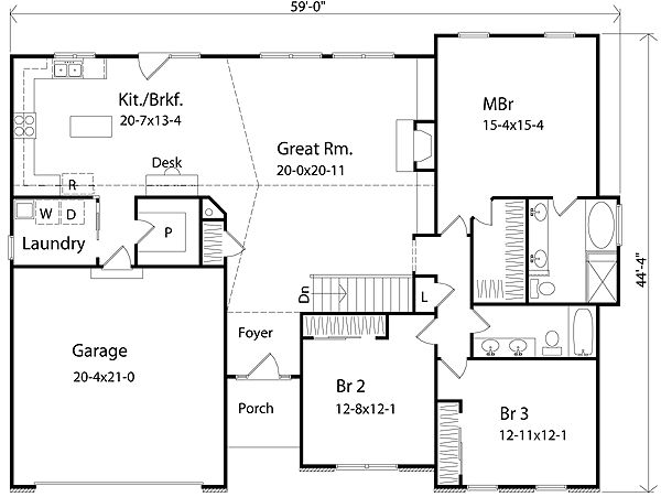 Plan 2223sl Spacious Ranch House Plans Walk In And Pantry