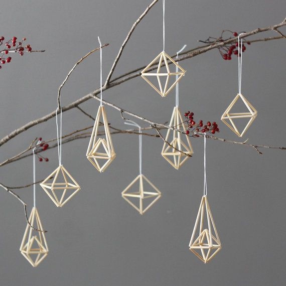 natural straw modern himmeli ornaments