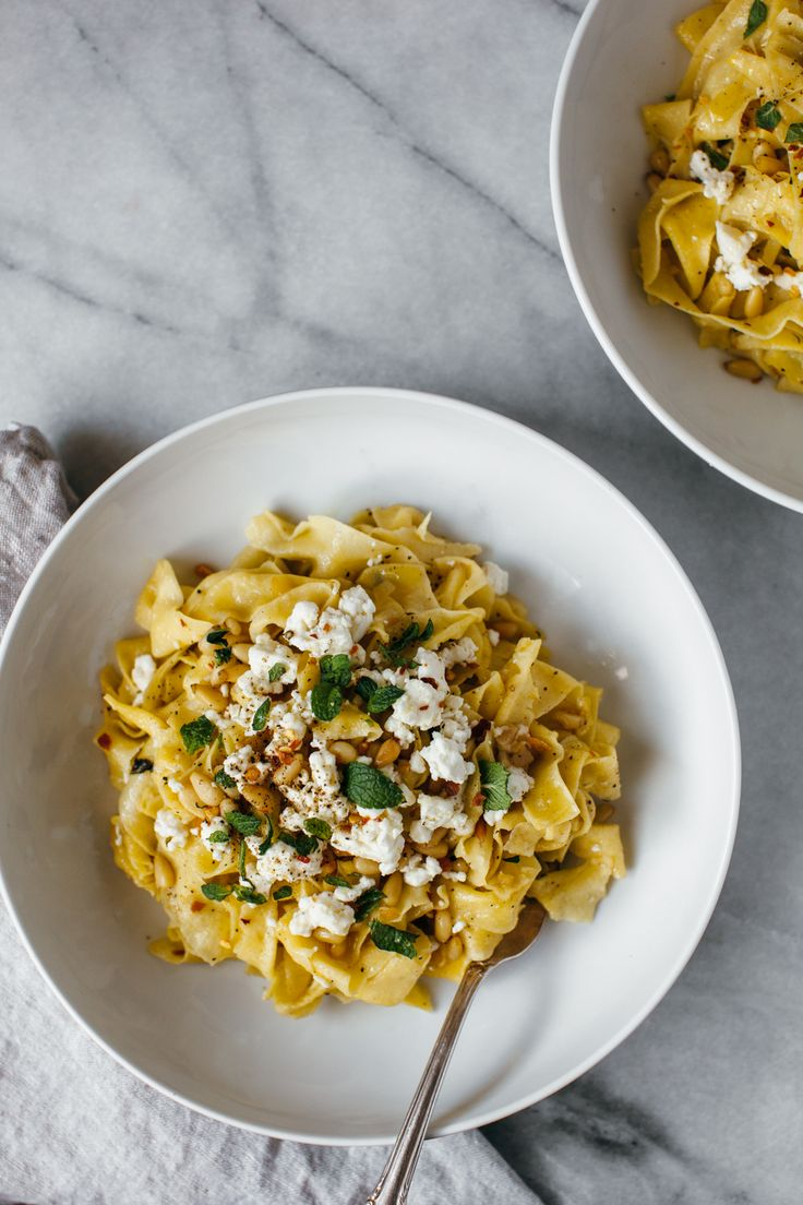 Lemon pappardelle with pine nuts, feta, and mint.