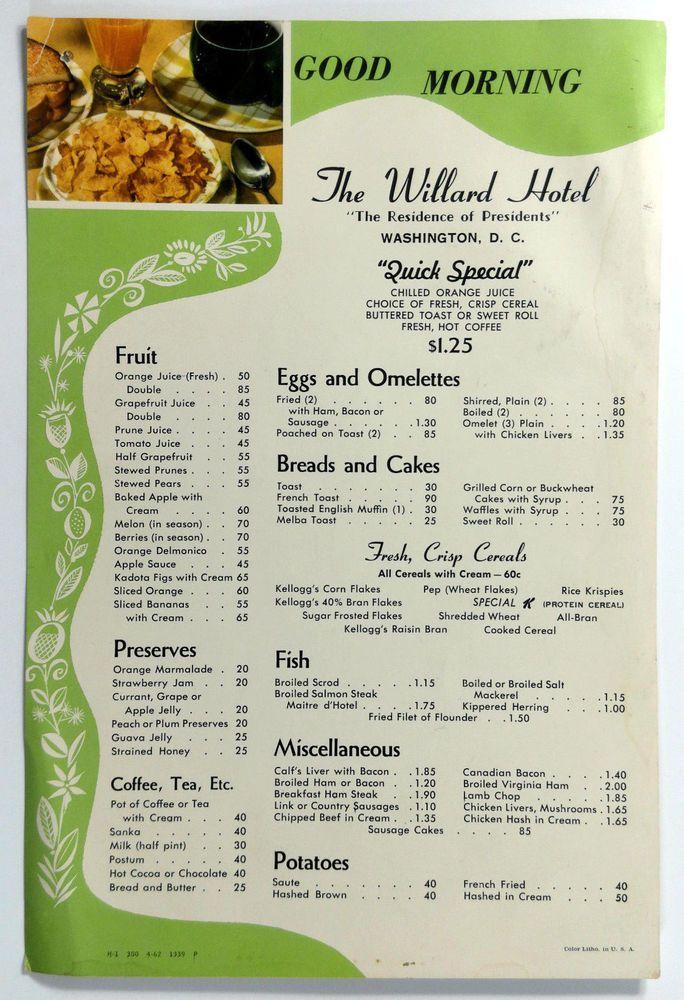 1962 Original Vintage Breakfast Menu Card The Willard Hotel