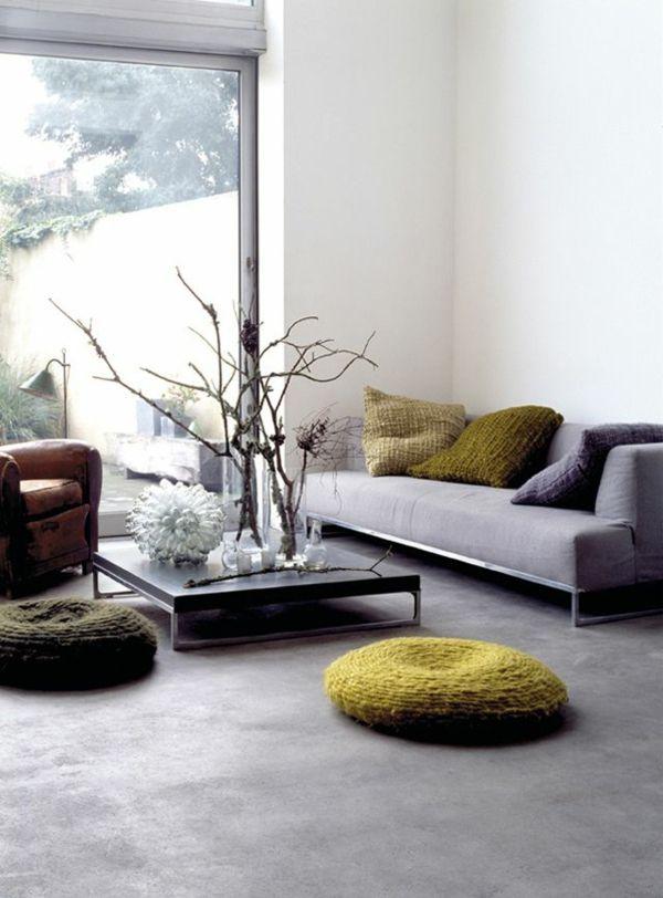 Die besten 25+ Betonboden wohnzimmer Ideen auf Pinterest - moderne wohnzimmer wandbilder