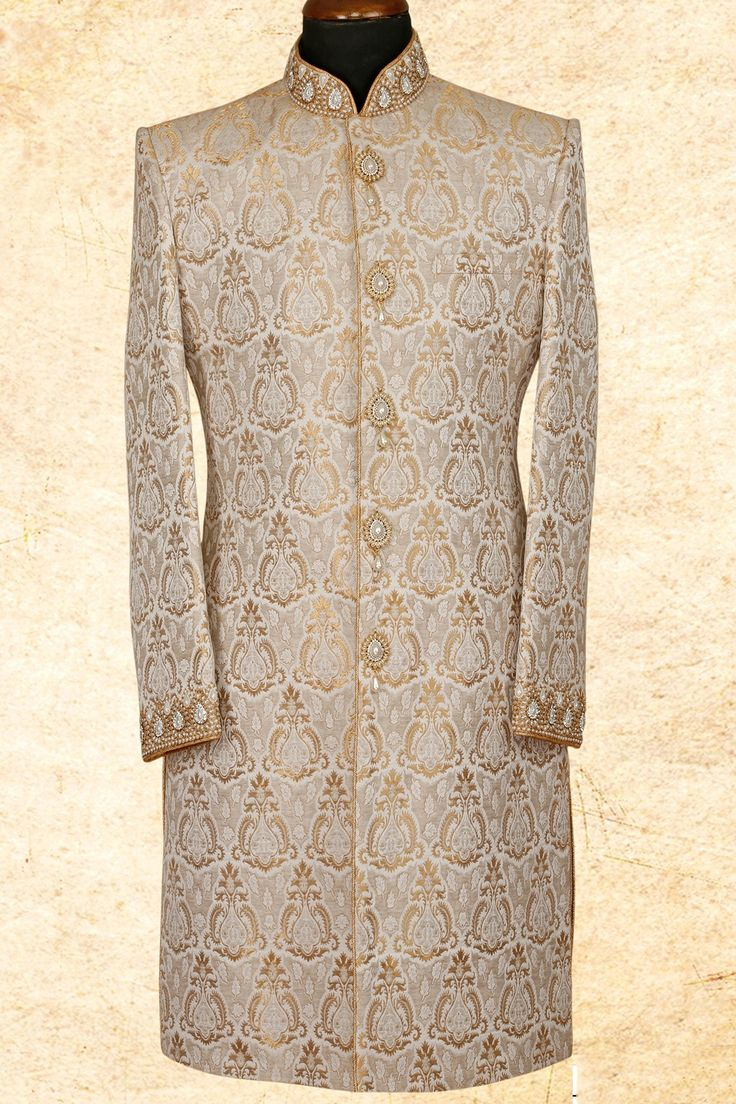 #Beige admirable #brocade sherwani with bandhgala-IW663