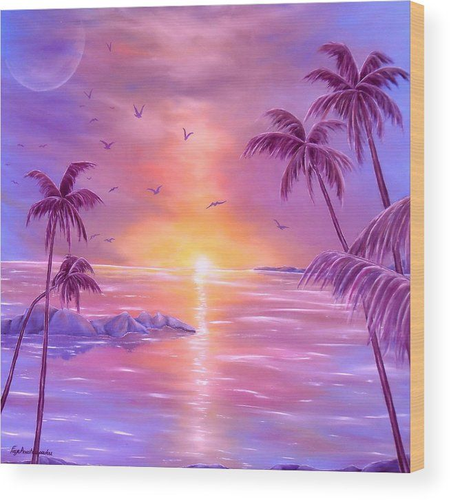 Wood Print,  sunset,coastal,scene,tropical,sunrise,seascape,ocean,water,island,palmtrees,impressive,bright,calm,summer,fantasy,purple,violet,mauve,lavender,gold,golden,multicolor,colorful,beautiful,image,fine,oil,painting,contemporary,scenic,modern,virtual,deviant,wall,art,awesome,cool,artistic,artwork,for,sale,home,office,decor,decoration,decorative,items,ideas