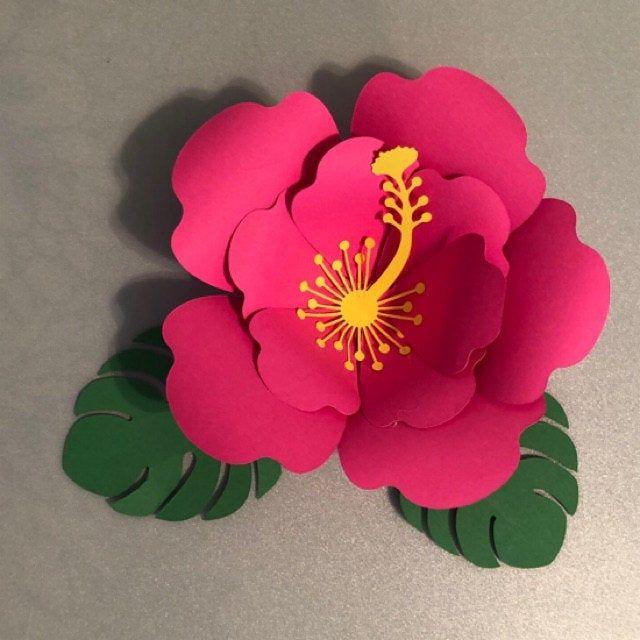 Svg Paper Flower Hibiscus Template Tropical Set Hawaiian Flower 3