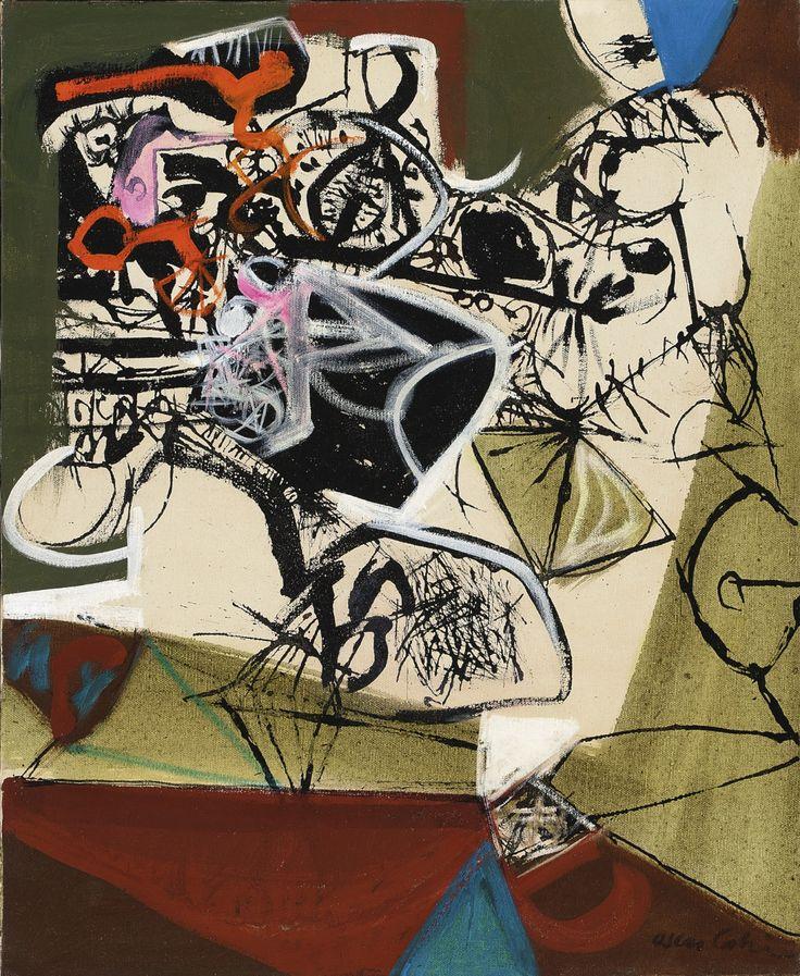 Oscar Cahén (1916-1956), High Entropy (1955), oil on canvas, 48.3 x 59.7 cm. Via Sotheby's.