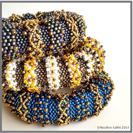 These Big and beautiful, Tubular Peyote Cuffs have huge impact on your wrist, wear two or three at a time. Make them bright and colorful or subdued with gold highlights. Level: Intermediate KNOWLEDGE OF TUBULAR PEYOTE REQUIRED Techniques: Even Count Tubular Peyote, Embellishing, Netting and Zipping Material requirements: 8o,11o & 15o seed beads An easy to read and understand PDF pattern with full color step by step diagrams and written instructions.