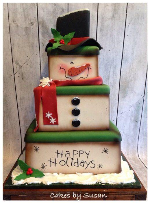 Primitive snowman box cake - by Skmaestas @ CakesDecor.com - cake decorating website