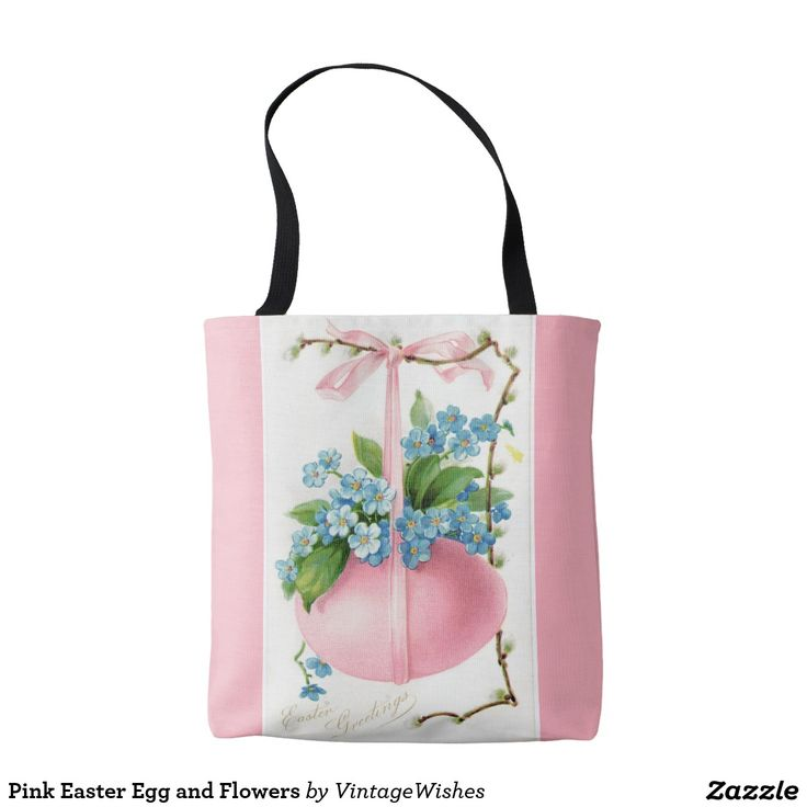 Pink Easter Egg and Flowers Tote Bag
