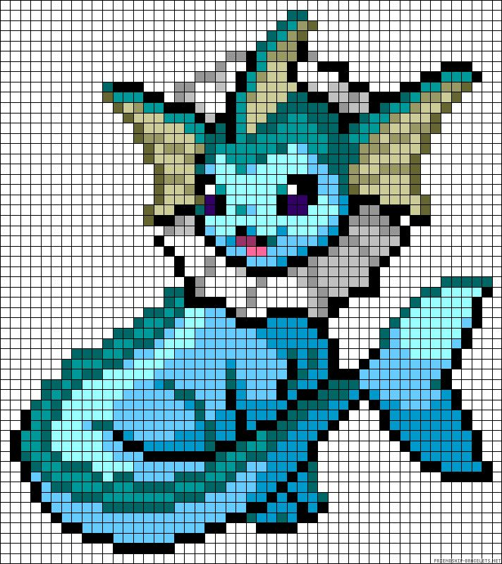 Vaporeon - Pokemon perler bead pattern                                                                                                                                                                                 Plus