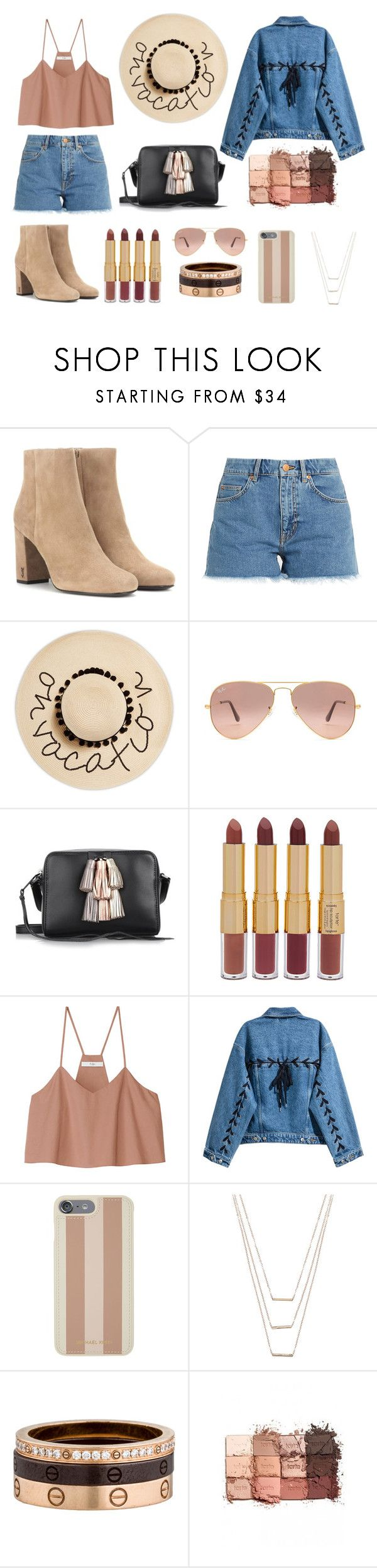 """Untitled #145"" by rhiannonsumner ❤ liked on Polyvore featuring Yves Saint Laurent, M.i.h Jeans, August Hat, Ray-Ban, Rebecca Minkoff, tarte, TIBI, Michael Kors, ERTH and Cartier"