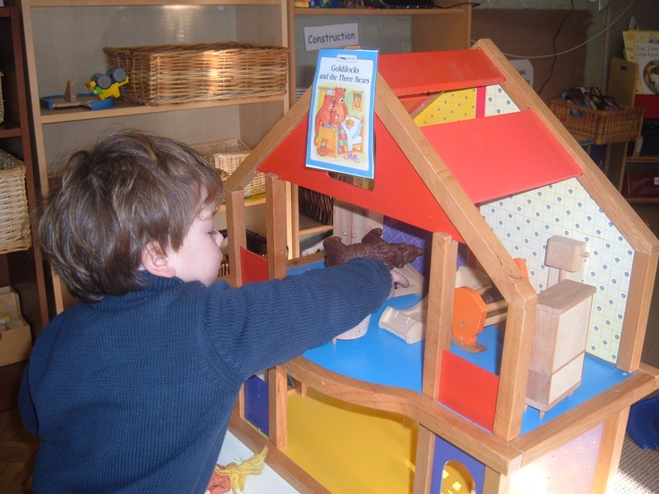 Our small world area has also been turned into a Goldilocks and the Three Bears house, complete with three diferent sized beds, three different sized chairs and the Three Bears and Goldilocks themselves.