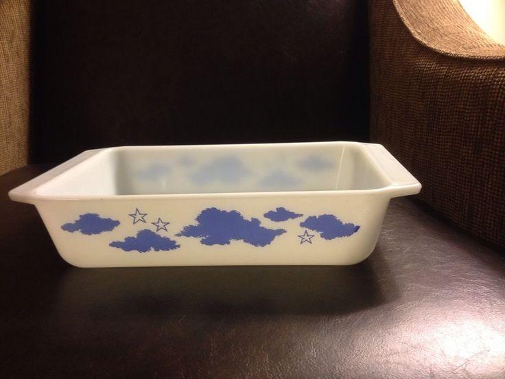 Rare Vintage Pyrex Casserole Dish, Blue Clouds And Stars Pattern, HTF