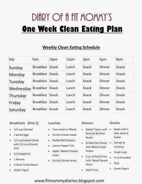 Clean eating menu!