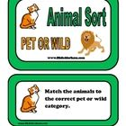Animal sorting game great for science centers or at your seat activity. Students must match the animal to the correct category of a pet or wild ani...