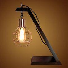 Ретро Дерево Настольная Лампа E27 Эдисон Промышленного Стиль Night Light Творческий Украшения Дома Деревянные Прикроватные Lampara Фонари