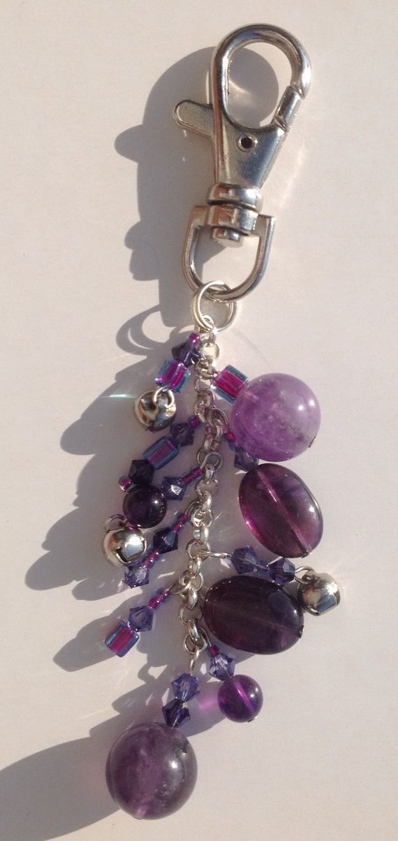 Amethyst beaded dangling keyring/handbag charm