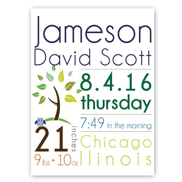 This adorable Baby Boy Birth Announcement Canvas Sign is the perfect gift for the new parents and will be a great addition for the nursery.