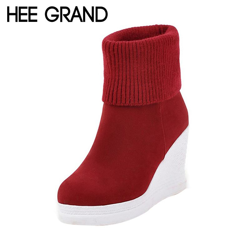 HEE GRAND Women's Boots For Autumn Solid Plain Platform Wedges Boots Woman Slip On Knitted Ankle Boot Warm Shoes Woman XWX4475