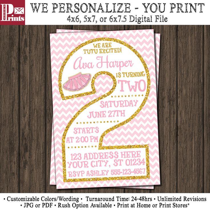 Tutu Birthday Invitation - Ballerina 2nd Birthday Invitations - Pink and Gold Ballet Second Birthday Invitation by PuggyPrints on Etsy