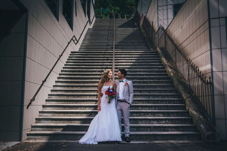 Can't help but stair at these two...  #northlandweddingphotographer #epicstairs #brideandgroom #northlandwedding