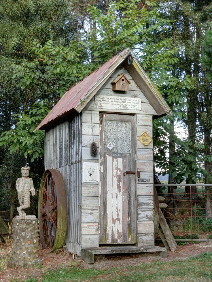 Outhouse outside old pub, Matangi, New Zealand